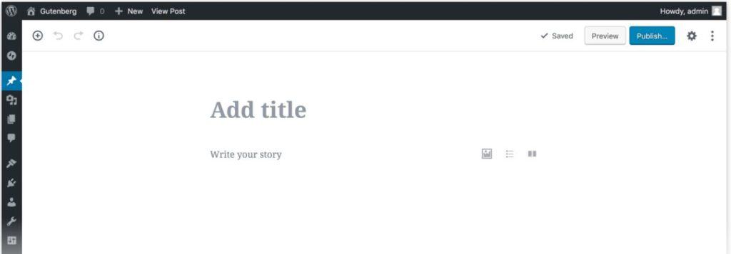 Gutenberg Editor, installed on a WordPress website