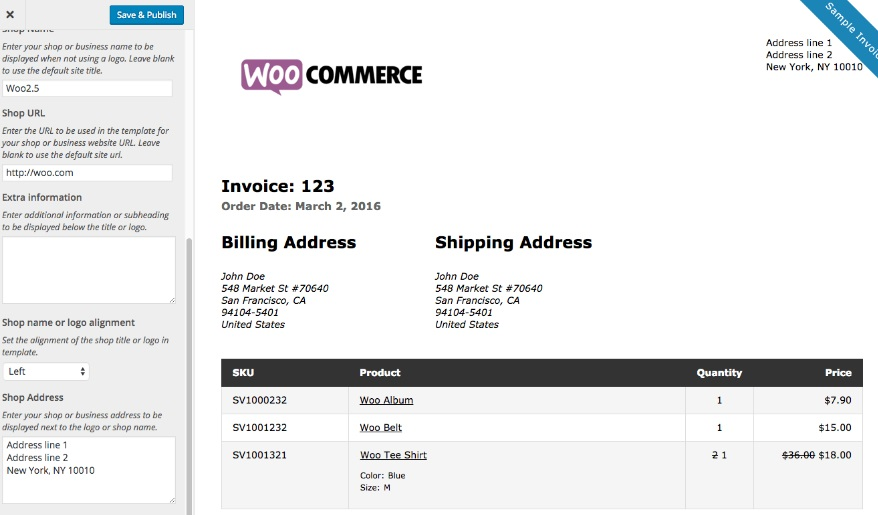 A Sample invoice, generated using Print Invoices and Packing Lists WooCommerce Plugin