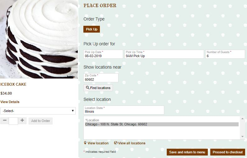 An example of pick-up order from a e-commerce store