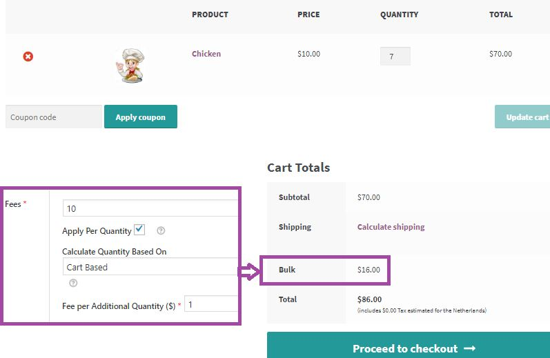 Additional fee on a product: Back-end and Cart Screenshots