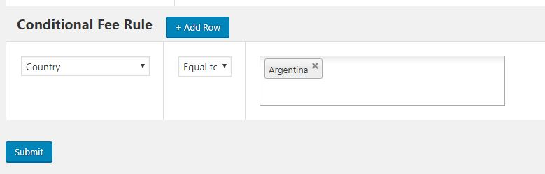 Applying Additional Fee for a Country