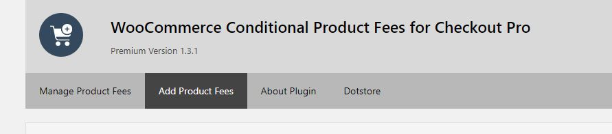 Plugin Dashboard - Main screen - Select 'Add Product Fees'