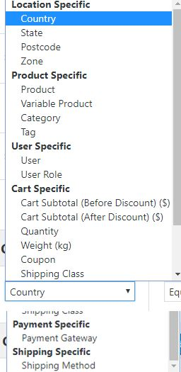 Parameters, for which, you can create rules in WooCommerce Conditional Product Fees for Checkout Plugin