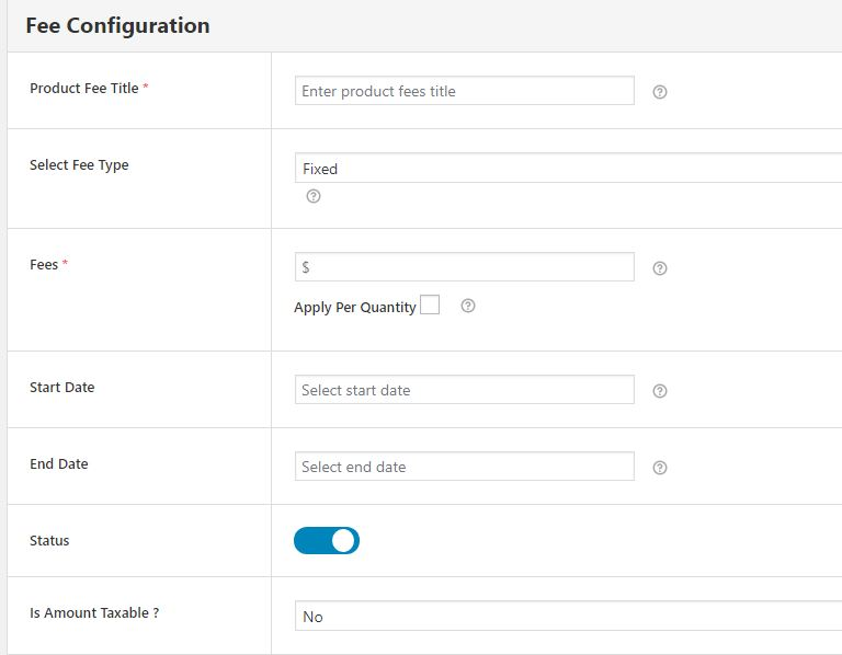 Form for Adding Extra Fees - Fee Configuration Part