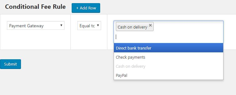 Adding Condition Fee Rule 1 - If Payment Gateway is Cash on Delivery