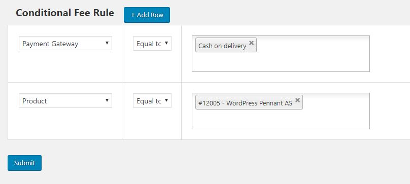 Adding Condition Fee Rule 2 - If Product Name is WordPress Pennant