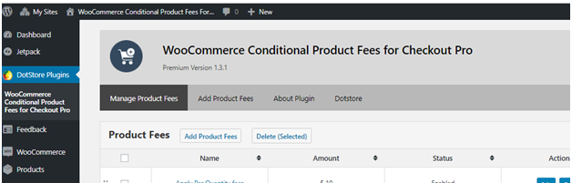 Main Dashboard of WooCommerce Conditional Product Fees for Checkout Plugin