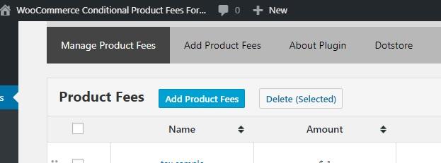 Plugin Dashboard – Add Product Fees button