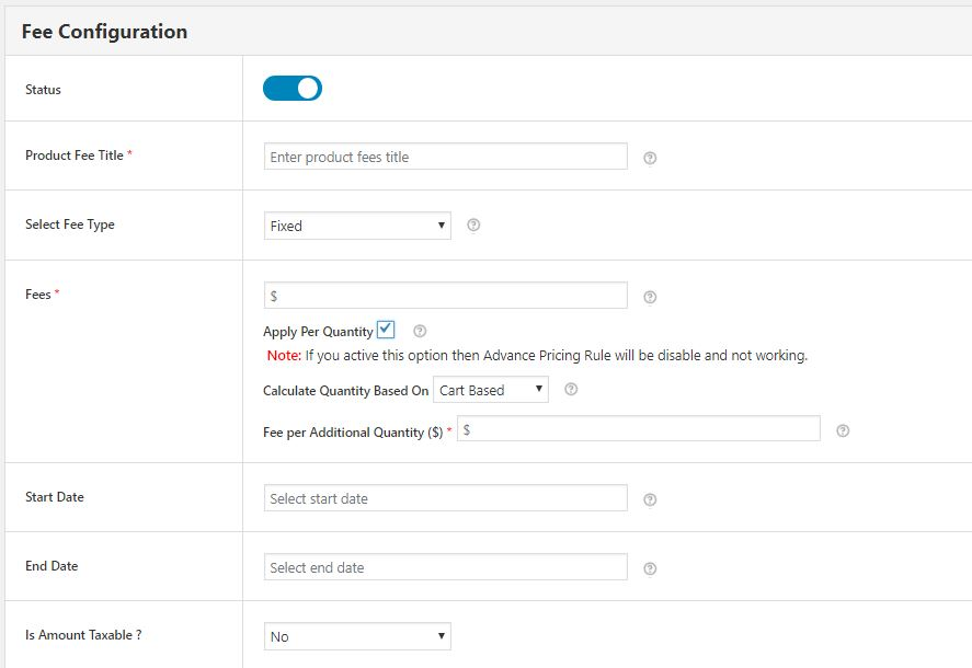 Fee Configuration Form for Adding Payment Gateway Based Extra Fee to Your wooCommerce Store