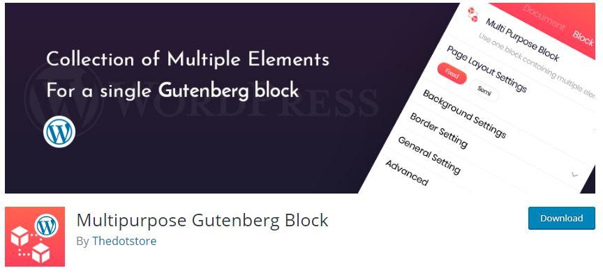 WordPress Plugin in the WP Plugin directory - Multipurpose Gutenberg Block
