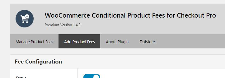 Add Product Fee Option on the Plugin Dashboard