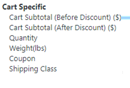 Parameters, for which, Cart Based Extra Fee could be charged using Woocommerce Conditional Fee for Checkout Plugin