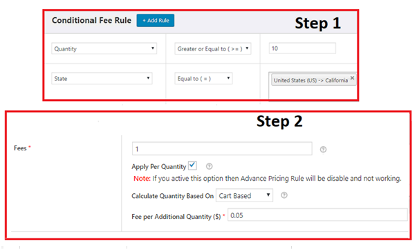 Applying Gradually-increasing quantity based extra fees as per quantity