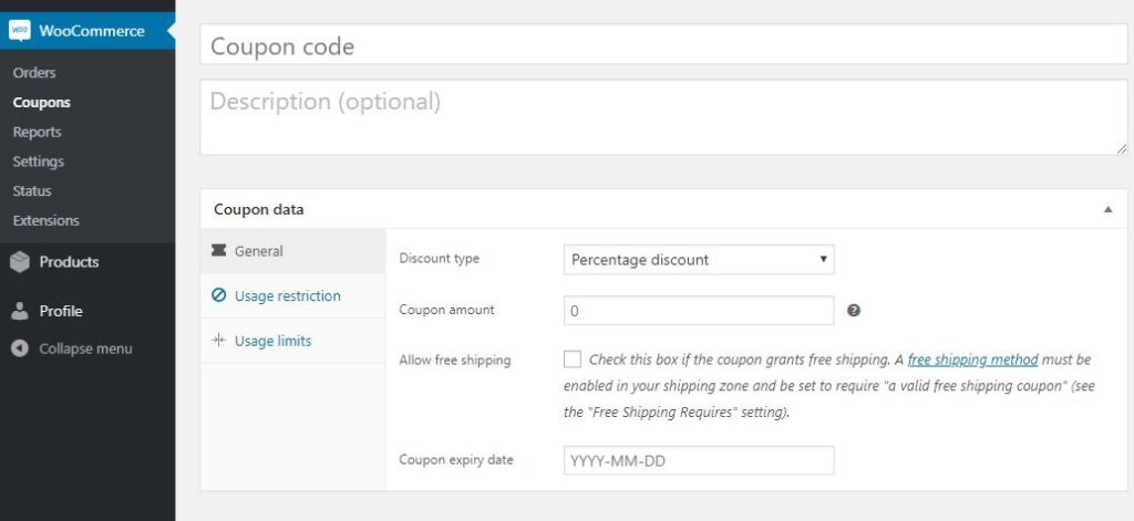 Figure 2 - Creating Discount Coupon in WooCommerce using the default method
