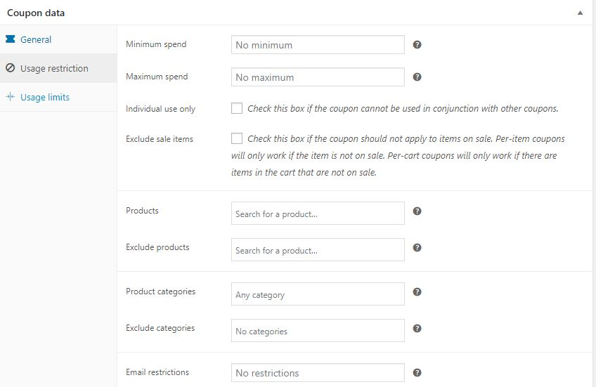 Figure 3 – Adding Usage Restrictions for a Discount Coupon in WooCommerce using the default method
