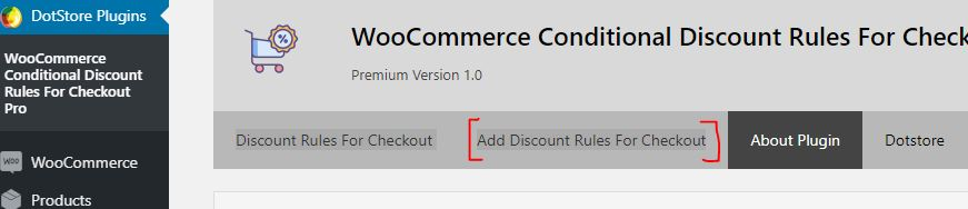 Plugin Dashboard - Step 1 - Click on Add Discount Rules for Checkout' Option