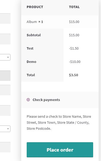 Example 1 – Cart, showing 10% discount on the checkout page