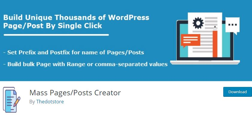 Figure 5 - Mass Pages Posts Creator - List of Free WordPress Plugins to Improve Your Site