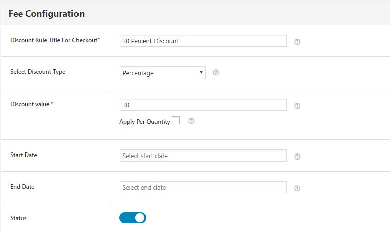 Figure 3 - Fee Configuration Section of WooCommerce Conditional Discount Rules For Checkout Plugin