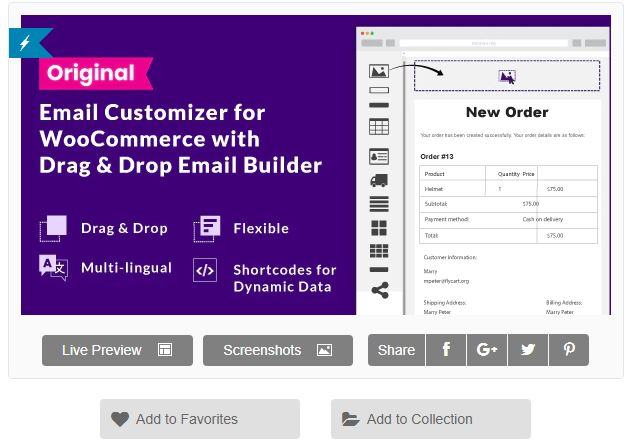 Figure 2 - Email Customizer for WooCommerce with Drag and Drop Email Builder - List of 10 Best Email Customizer Plugins (WooCommerce)