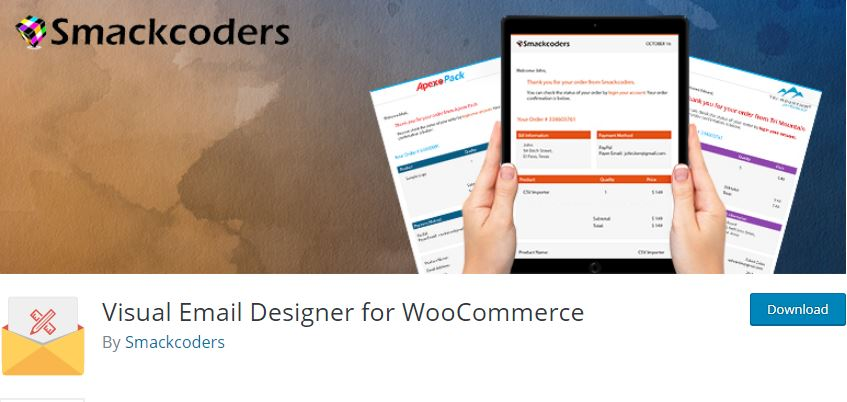 Figure 3 - Visual Email Designer for WooCommerce by Smackcoders - List of 10 Best Email Customizer Plugins (WooCommerce)