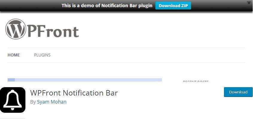 Figure 1 - WPFront Notification Bar - List of the top 8 WordPress Notification Bar Plugins