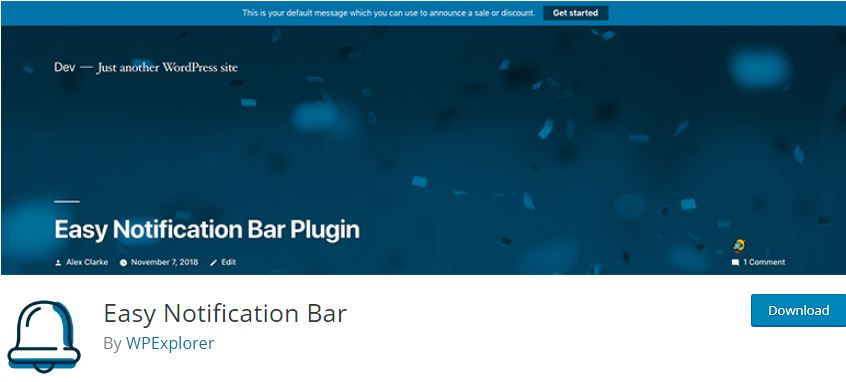 Figure 6 - Easy Notification Bar - List of the top 8 WordPress Notification Bar Plugins