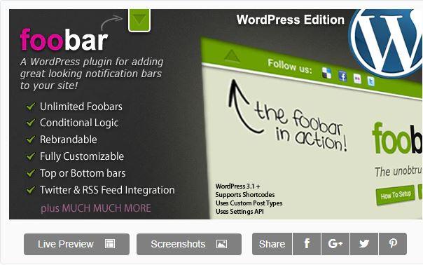 Figure 7 - Foobar - List of the top 8 WordPress Notification Bar Plugins