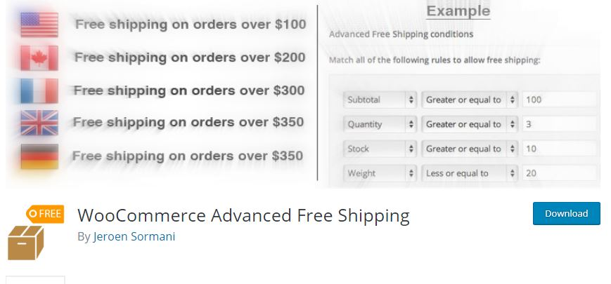 Figure 1‑7 - Top Shipping Plugins - 7 - WooCommerce Advanced Free Shipping