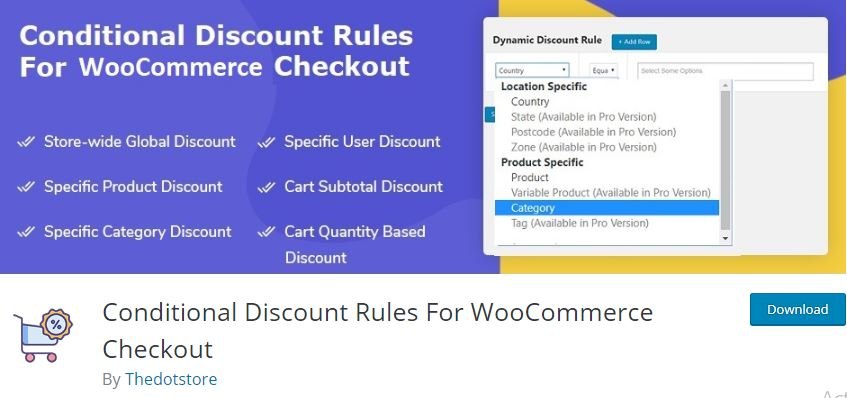 Figure 2‑1 - Top 9 Plugins for WooCommerce Checkout - 1 - WooCommerce Conditional Discount Rules for Checkout Plugin