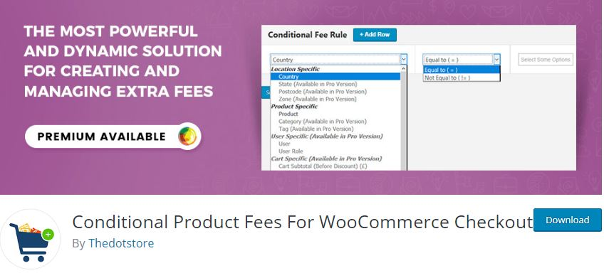 Figure 2‑3 - Top 9 Plugins for WooCommerce Checkout - 3 - WooCommerce Conditional Product Fees for Checkout Plugin