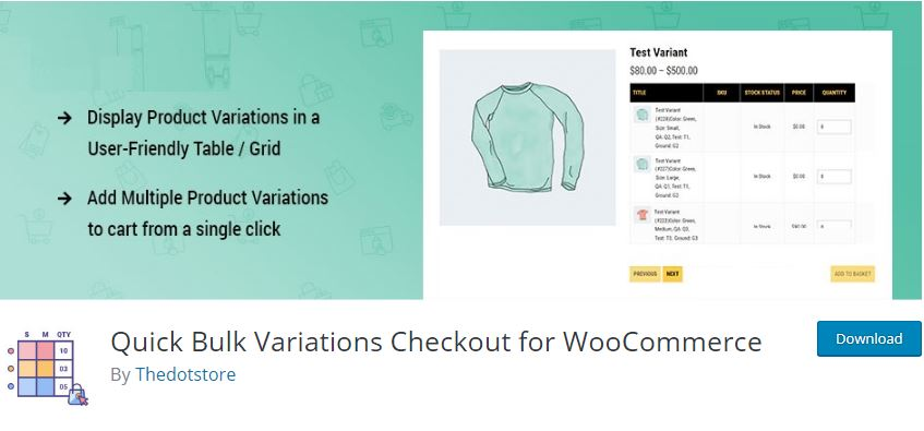 2‑8 - Top 9 Plugins for WooCommerce Checkout - 8 - Quick Bulk Variations Checkout for WooCommerce Plugin