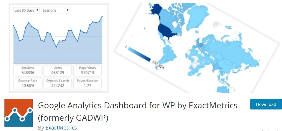 3‑6 - Top 6 Plugins for WooCommerce Report or Analytics - 6 - Google Analytics Dashboard for WP by ExactMetrics Plugin