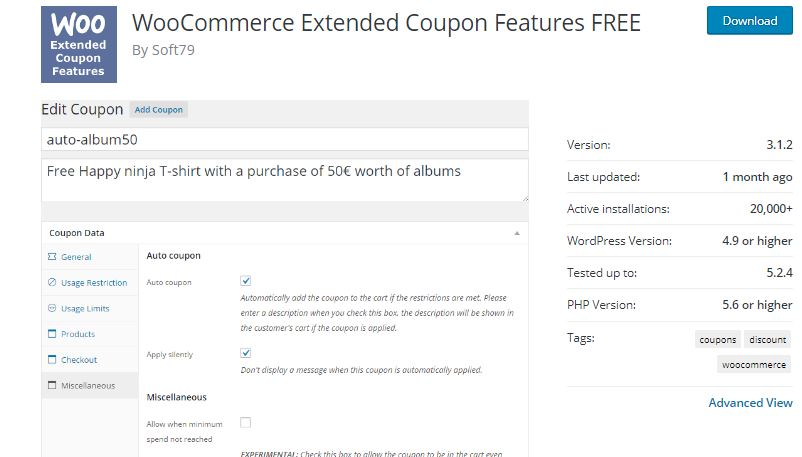 5‑3 - Top 6 WooCommerce Coupon Plugins - 3 - WooCommerce Extended Coupon Features Plugin