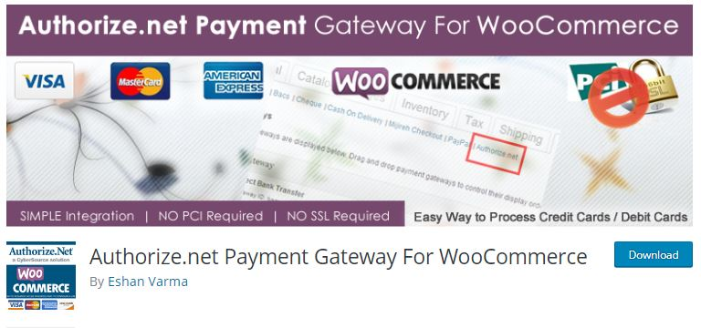 8‑8‑3 - Top WordPress Gateway Plugins - 3 - Authorize.net Payment Gateway for WooCommerce Plugin