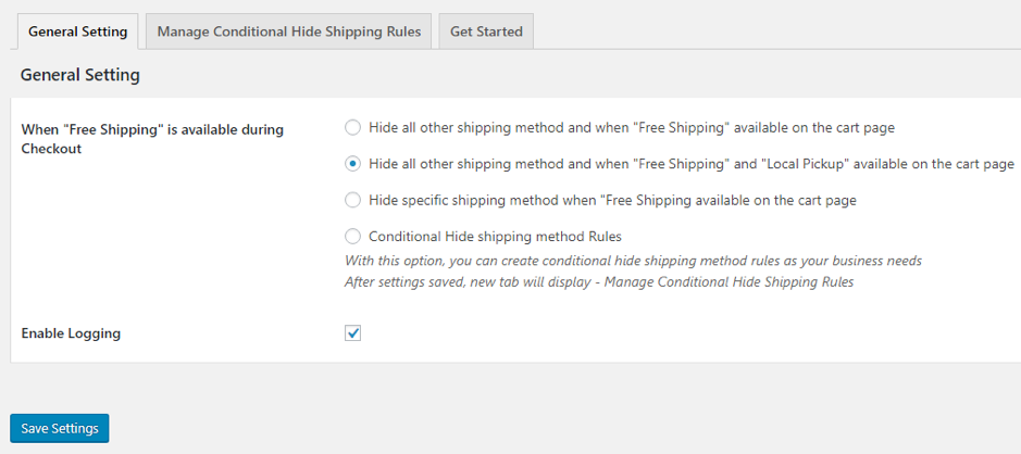 hide all other shipping methods when Free Shipping