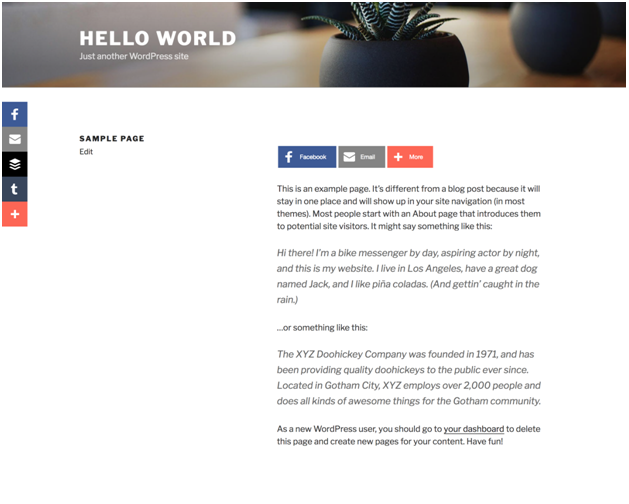 A Sample Page of your WordPress Website