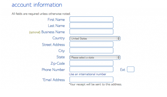 Add account information to process for billing