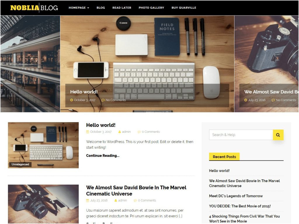 An Example WordPress Website creating using a free theme