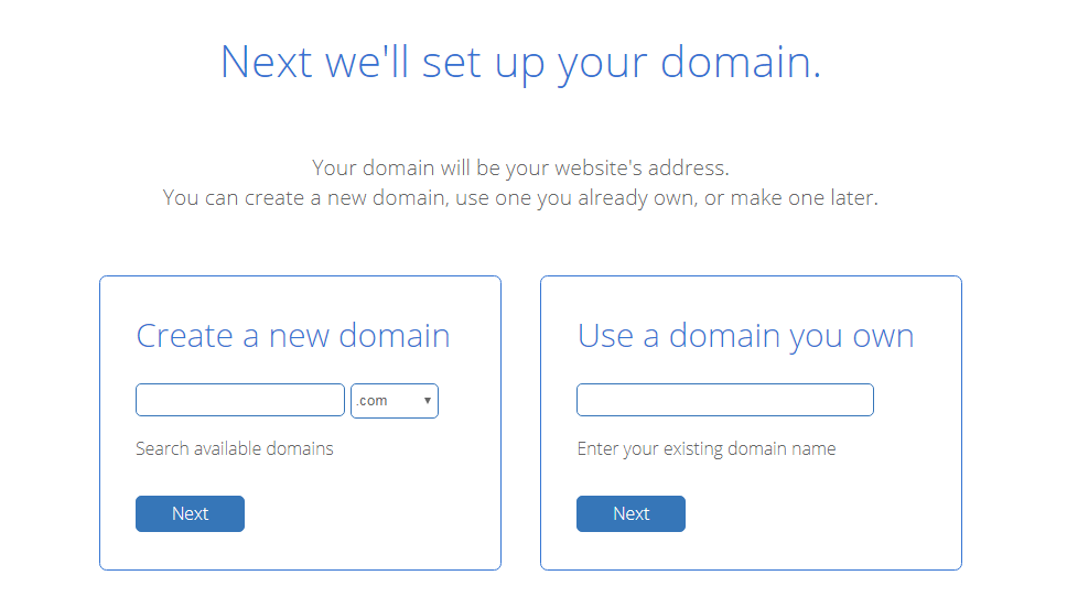 Choose your domain for the new website