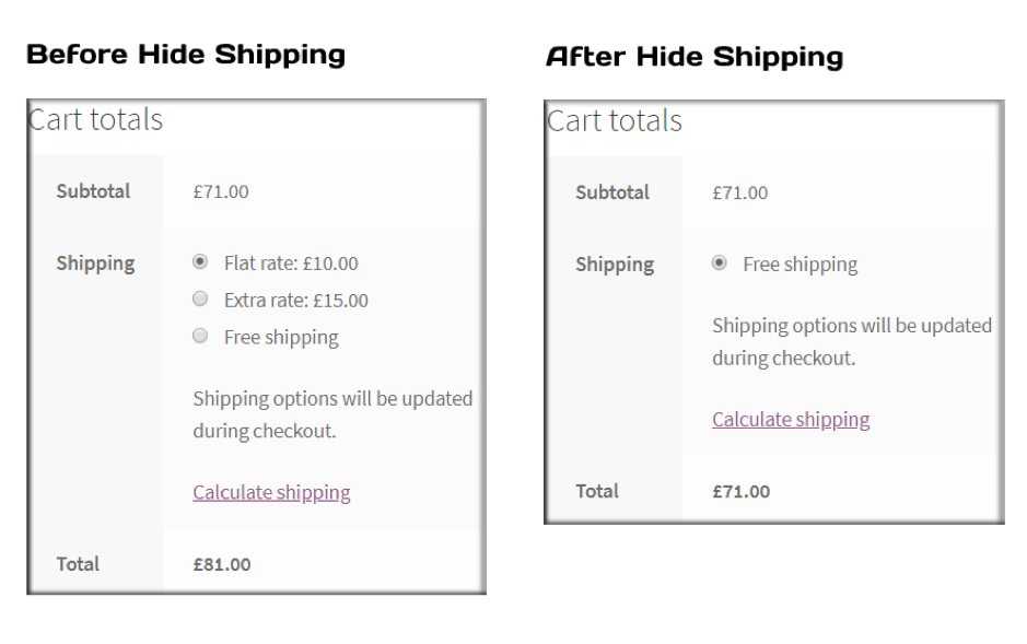 Hide Free shipping in WooCommerce