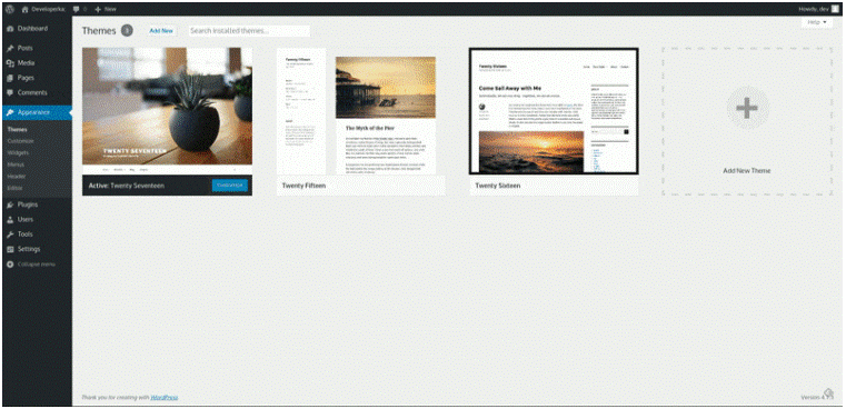 Selecting a theme for your live website