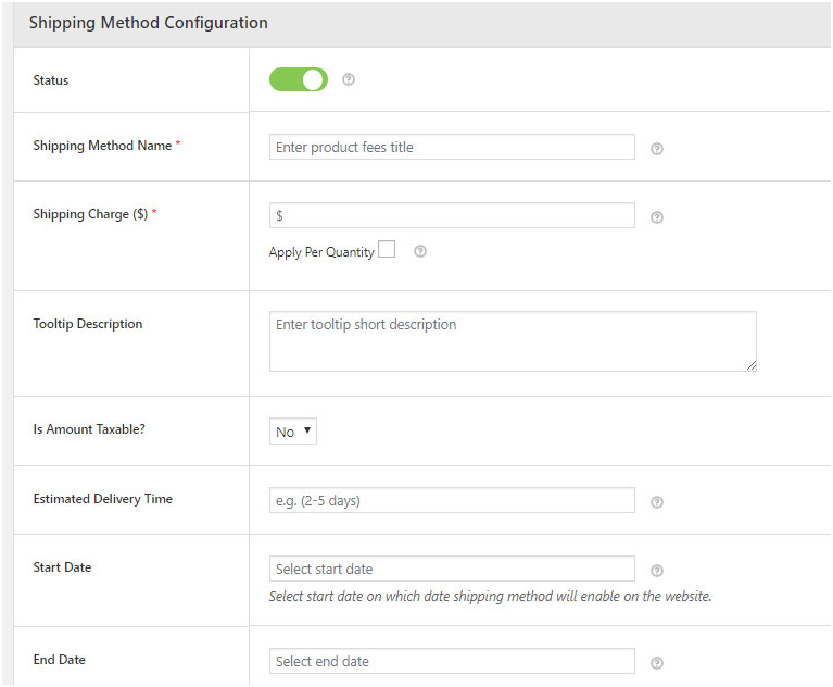 Shipping Method Configuration Section - Advanced Flat Rate Shipping Plugin