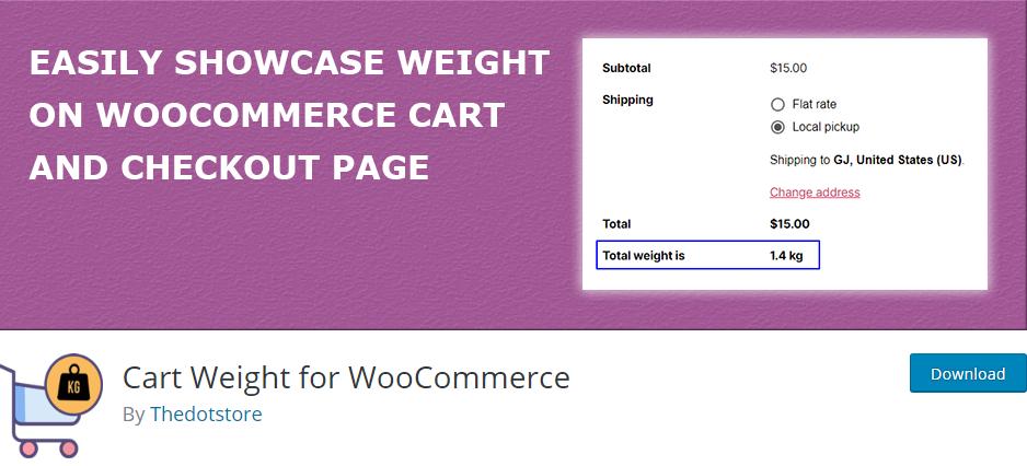 Figure 1: Cart Weight for WooCommerce Plugin in WordPress Plugin Directory