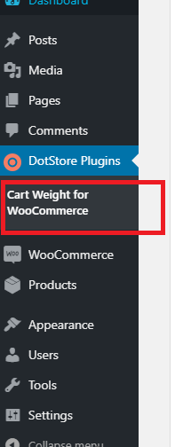 Figure 2: Link to use the Plugin Cart Weight for WooCommerce in the WordPress Admin Dashboard