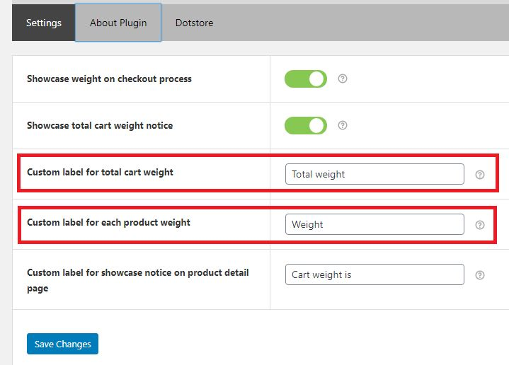 Figure 3: Settings Tab for the Cart Weight for WooCommerce Plugin