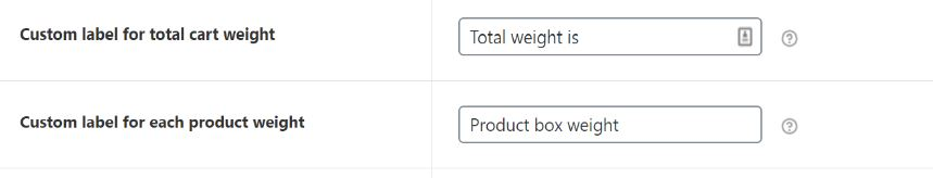 Figure 4: Setting Values for Cart and product weight entities