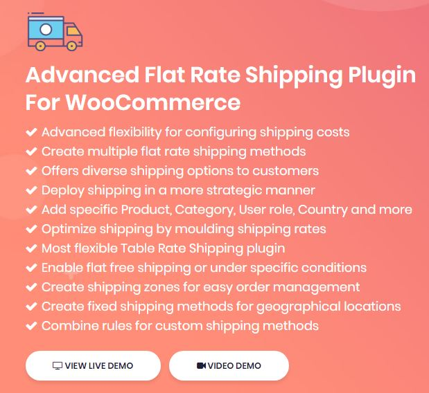 Figure 2: Features of Advanced Flat Rate Shipping Plugin for WooCommerce Plugin