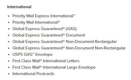 Figure 3: International Shipping through USPS