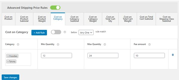Figure 12: Applying Shipping price for a Cost Range of one or more Categories